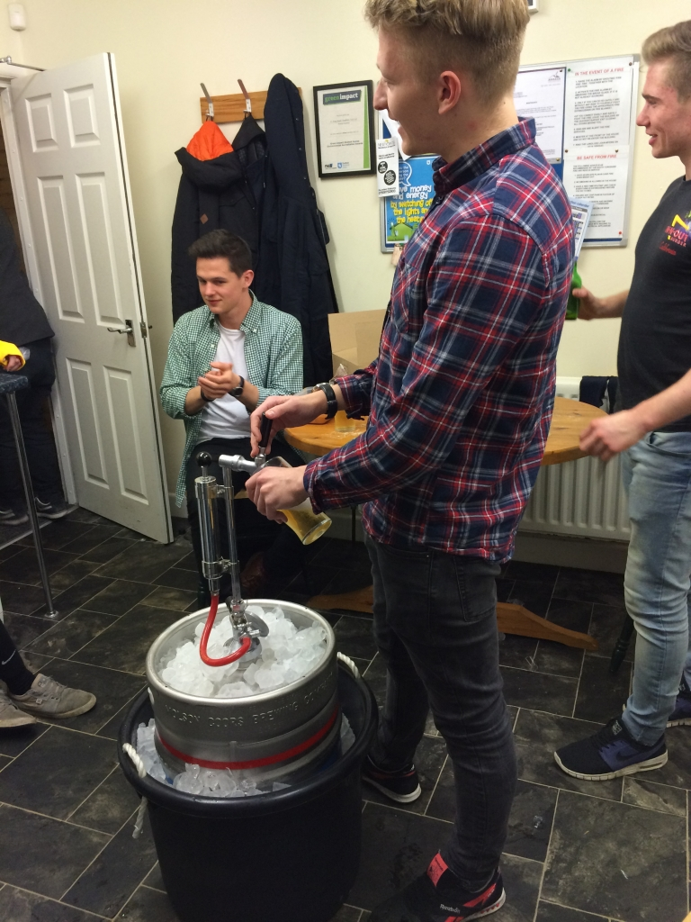 A Sheffield Student keg party... Celebrating end of exams with 88 pints or Coors light.