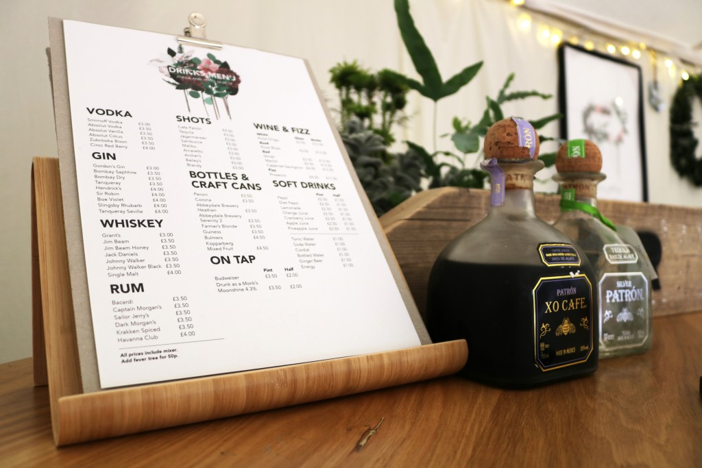 mobile bar hire menu
